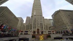 Нью-Йорк, конкурс США на взгляде Рокефеллер разбивочном внешнем видеоматериал