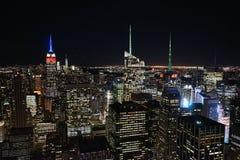 Нью-Йорк к ноча от небоскреба Стоковые Изображения RF
