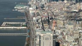 Нью-Йорк, Манхэттен - вид с воздуха от westside Манхэттена и Гудзона сток-видео