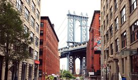 Нью-Йорк, мост Манхаттана стоковые изображения rf