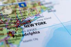 Нью-Йорк на карте Стоковая Фотография RF