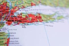 Нью-Йорк на карте Стоковое Фото
