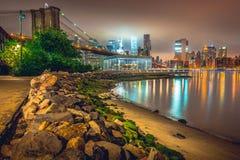Нью-Йорк на ноче, Бруклинский мост Стоковое фото RF