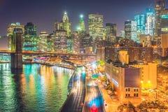 Нью-Йорк на ноче, Манхаттан Стоковое Изображение RF