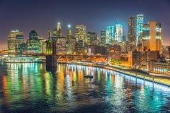 Нью-Йорк на ноче, Манхаттан Стоковое Изображение