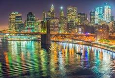 Нью-Йорк на ноче, Манхаттан Стоковые Изображения RF