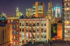Нью-Йорк на ноче, Манхаттан Стоковые Фотографии RF