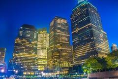 Нью-Йорк на ноче, Манхаттан Стоковое Фото
