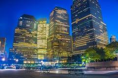 Нью-Йорк на ноче, Манхаттан Стоковая Фотография