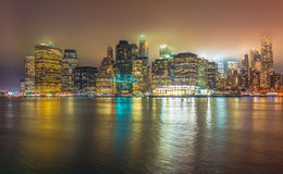 Нью-Йорк на ноче, Манхаттан Стоковые Фото
