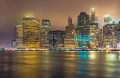 Нью-Йорк на ноче, Манхаттан Стоковые Изображения