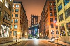Нью-Йорк на ноче, мост Манхаттана Стоковое Изображение RF