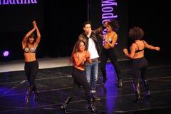 НЬЮ-ЙОРК - 8-ОЕ АВГУСТА: Представления наверху модельный Latina 2014 Стоковое Изображение RF