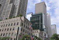 Нью-Йорк, 2-ое июля: Детали небоскребов Рокефеллер в Манхаттане от Нью-Йорка в Соединенных Штатах Стоковые Фотографии RF