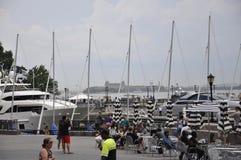 Нью-Йорк, 2-ое июля: Портовый район места Brookfield в Манхаттане от Нью-Йорка в Соединенных Штатах Стоковая Фотография RF