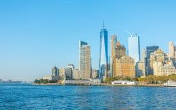 Нью-Йорк - 18-ое октября 2016: Горизонт Манхаттана, Ci Нью-Йорка Стоковое Изображение