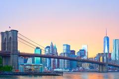 Нью-Йорк, панорама Манхаттана городская Стоковая Фотография RF