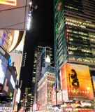 Нью-Йорк, США -?? 9-ое июня 2017: Таймс площадь, неоновых искусства и коммерции и иконическая улица Нью-Йорка и Америки стоковое изображение rf