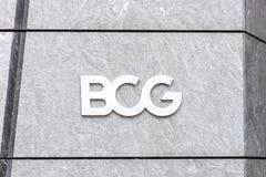 НЬЮ-ЙОРК, США - 17-ОЕ МАЯ 2019: Логотип компании BCG в дворах Гудзона в офисе Нью-Йорка Группа Бостон советуя с стоковое изображение
