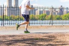 НЬЮ-ЙОРК, США - 15-ОЕ МАЯ 2019: Ход Jogger вдоль резервуара центрального парка в Нью-Йорке Центральный парк полон активного стоковое фото