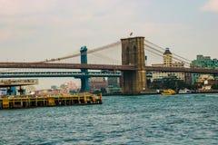 Нью-Йорк, США - 2-ое сентября 2018: Бруклинский мост в Нью-Йорке, США стоковая фотография rf