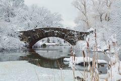 Нью-Йорк Central Park в мосте снега Стоковое Фото