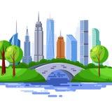Нью-Йорк Central Park и городские здания небоскреба Иллюстрация городского пейзажа вектора бесплатная иллюстрация