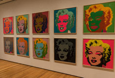 Нью-Йорк MOMA Энди Уорхол, искусство шипучки Marylin Монро стоковые фотографии rf
