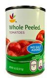 Нью-Йорк, NY, крупный план США 2-ое декабря 2014 чонсервной банкы итальянских томатов без добавленного соли Стоковая Фотография