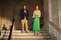 НЬЮ-ЙОРК, NY - 19-ОЕ МАЯ: Дэвид Лорен и Uma Thurman делая речь на модном параде детей падения 14 Ральф Лорен Стоковые Изображения RF