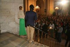 НЬЮ-ЙОРК, NY - 19-ОЕ МАЯ: Дэвид Лорен и Uma Thurman делая речь на модном параде детей падения 14 Ральф Лорен Стоковое Изображение RF