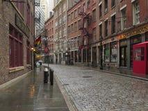 Нью-Йорк, NY/Соединенные Штаты - ноябрь 24, 2014: Взгляд вниз с исторической каменной улицы стоковое фото rf