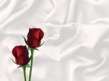 2 дня красных роз и белых сатинировки валентинки чешет предпосылка с пустым пространством Стоковая Фотография RF