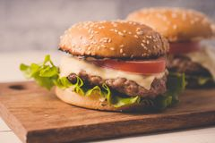 Нamburger or sandwich on brown paper. Delicious sandwich hamburger with meat, cheese and fresh vegetable. royalty free stock image