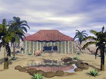 оазис пустыни 3d представляет Стоковые Фотографии RF