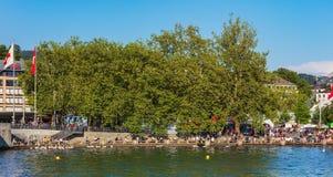 Обваловка озера Цюриха в городе Цюриха, Швейцарии Стоковая Фотография RF