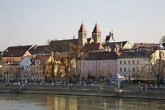 Обваловка Дуная в Регенсбурге Баварии Германия стоковое изображение rf