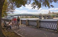 Обваловка Pushkinskaya в Москве Взгляд Pushkin Andreevs Стоковое фото RF