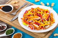 Обваляйте crumbed мясо в сухарях цыпленка, манго, арахисы, салат болгарского перца Стоковое Фото
