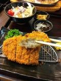 Обвалянная в сухарях японцем глубоко зажаренная котлета свинины также знает как Tonkatsu, Vegetable салат Стоковые Фото