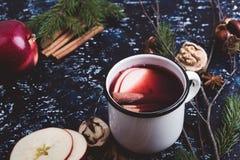 Обдумыванное вино с кусками яблока Стоковое Фото