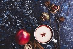 Обдумыванное вино с кусками яблока Стоковое Изображение