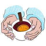 Обдумыванное вино, glintwein Питье осени Коктеиль алкоголички праздника рождества Звезда анисовки, ручки циннамона, апельсин и ви бесплатная иллюстрация