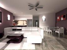 обедать комната нутряной кухни живущая Стоковая Фотография