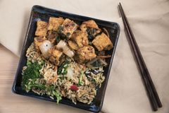 Обедающий тофу и жареных рисов Стоковое Фото