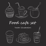 Обед завтрака утра кафа еды установленный или значки эскиза doodle кухни обедающего нарисованные рукой грубые простые иллюстрация штока