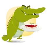 обед обеда крокодила бесплатная иллюстрация