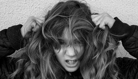 обезумевшая девушка Стоковое фото RF