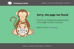 Обезьяна ища блохи Ошибка 404 страницы найденная Стоковое Изображение