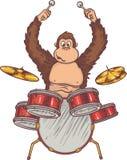 Обезьяна и барабанчики Стоковые Изображения RF